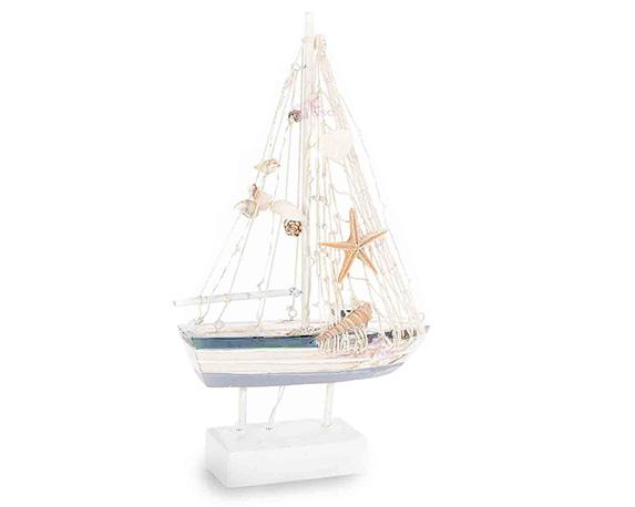 Barca A Vela C/led 15cm Legno
