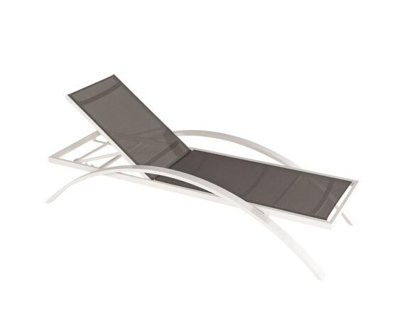 Lettino Best Alluminio Bianco Textilene Taupe