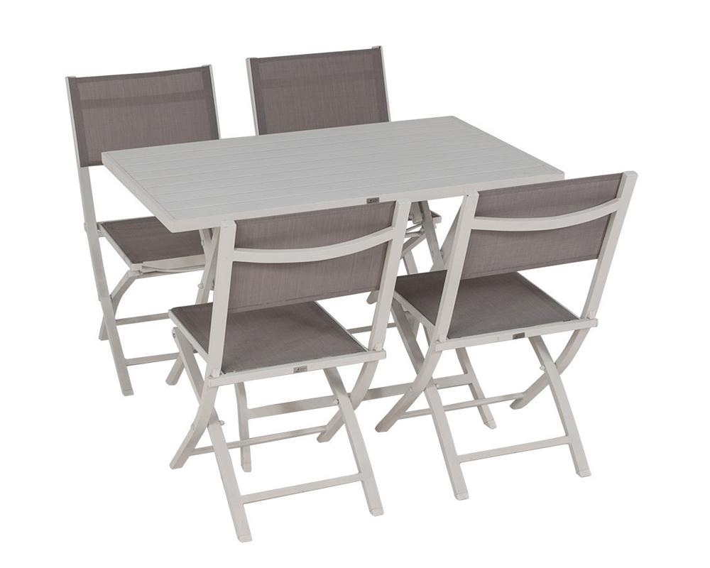 Set tavolo shelly 4 sedie bianco alluminio