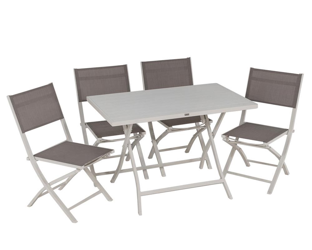 Set tavolo shelly 4 sedie bianco alluminio 1