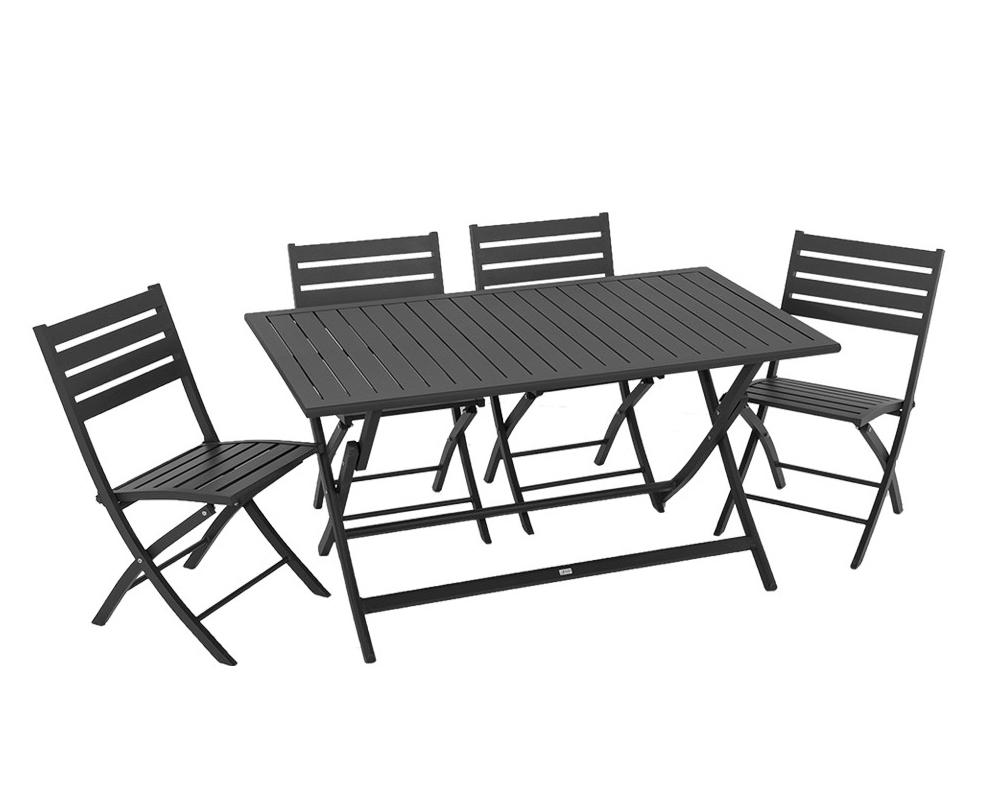 Set tavolo winny antracite alluminio 4 sedie