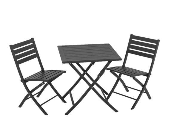 Set Tavolo Winny Antracite Alluminio 70×70