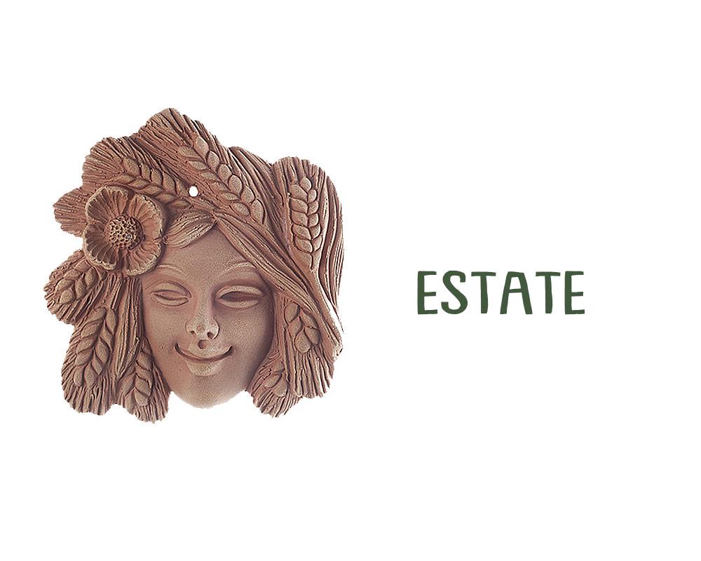 figura in terracotta stagioni ESTATE corino bruna decorativi giaridno arredo decorazioni