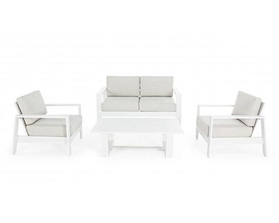 Salotto Atlantic 4pz Bianco/tortora Alluminio C/cuscini – Bizzotto