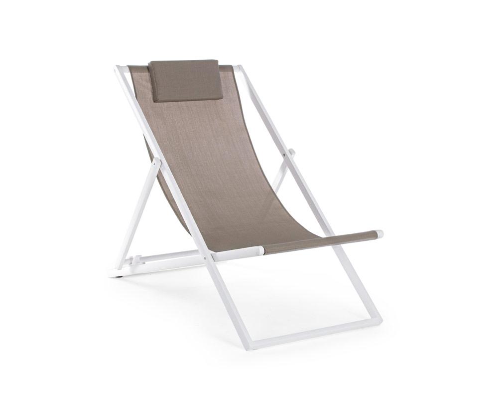 sdraio taylor bianco marrone testilene alluminio complementi relax arredo giaridno bizzotto 4 1