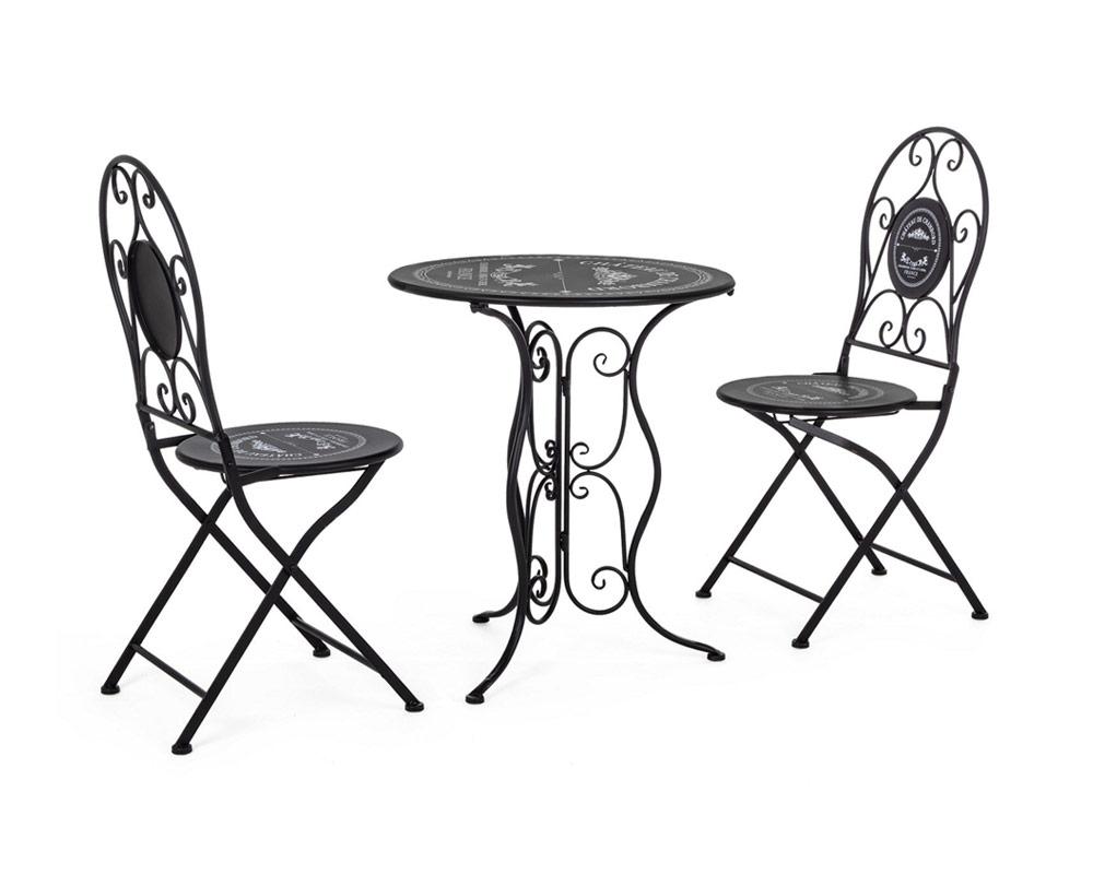 set 3 bistrot chambery set pranzo acciaio nero arredo giardino bizzotto tavoli e sedie 2 1