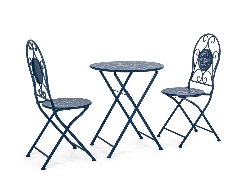 set 3 bistrot pacific set pranzo acciaio blu arredo giardino bizzotto tavoli e sedie 2 1 1