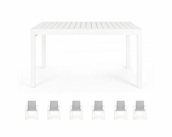 Set Tavolo Allungabile Pelagius + 6 Sedie C/br Atlantic Bianco Alluminio