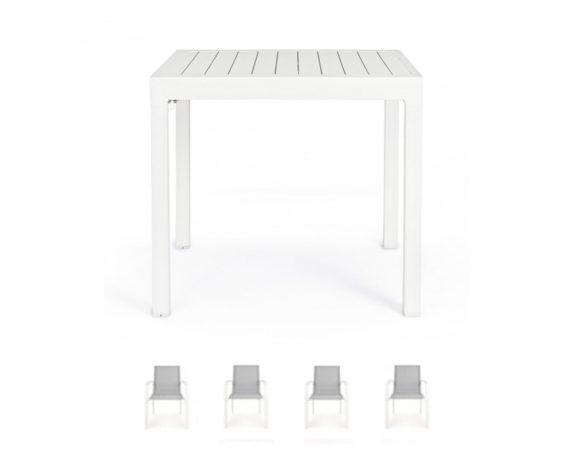 Set Tavolo Allungabile Pelagius + 4 Sedie C/br Atlantic Bianco Alluminio