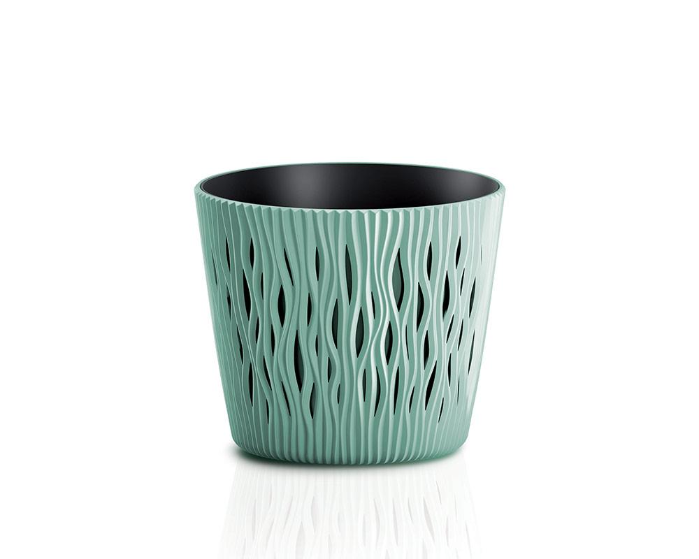 vaso sandy c riserva vasi in plastica vasi e coprivaso corinobruna sabbia 13 cm verde