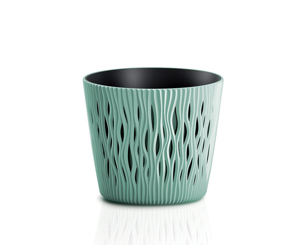 vaso sandy c riserva vasi in plastica vasi e coprivaso corinobruna sabbia 16 cm.verde