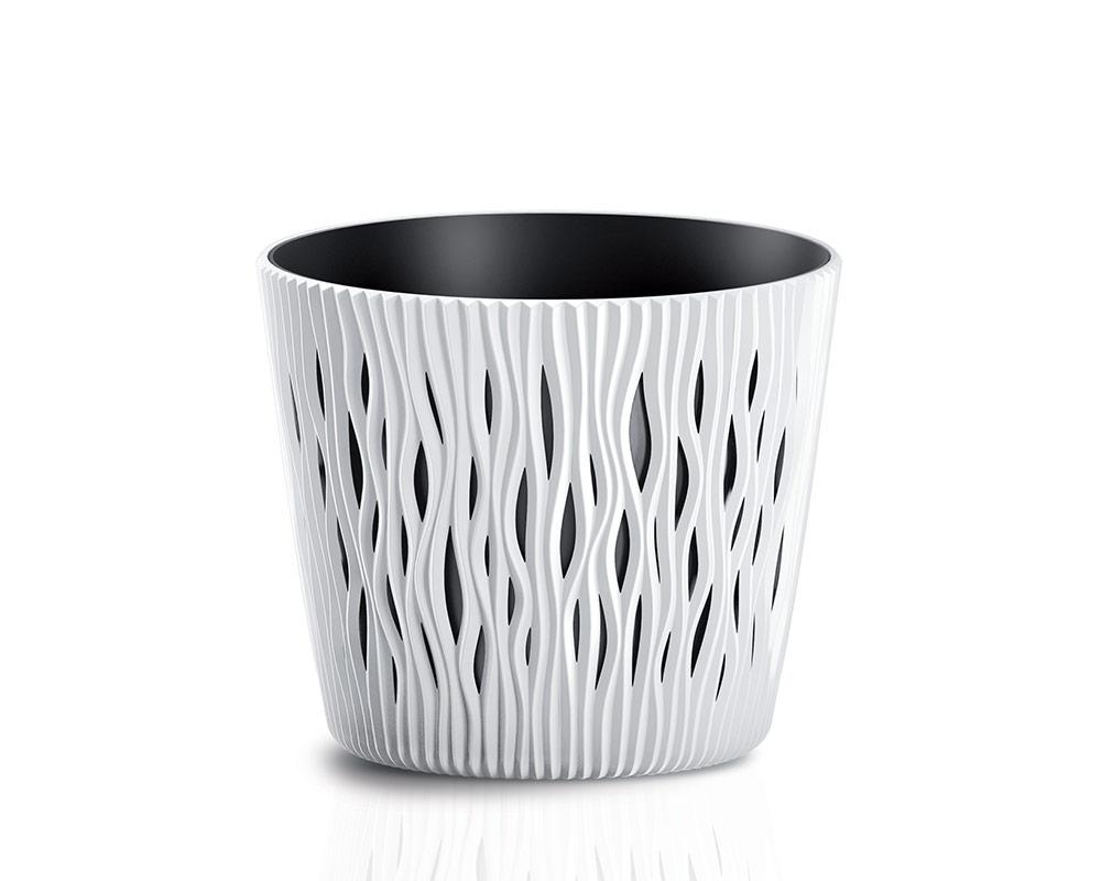 vaso sandy c riserva vasi in plastica vasi e coprivaso corinobruna sabbia 19 cm.bianco