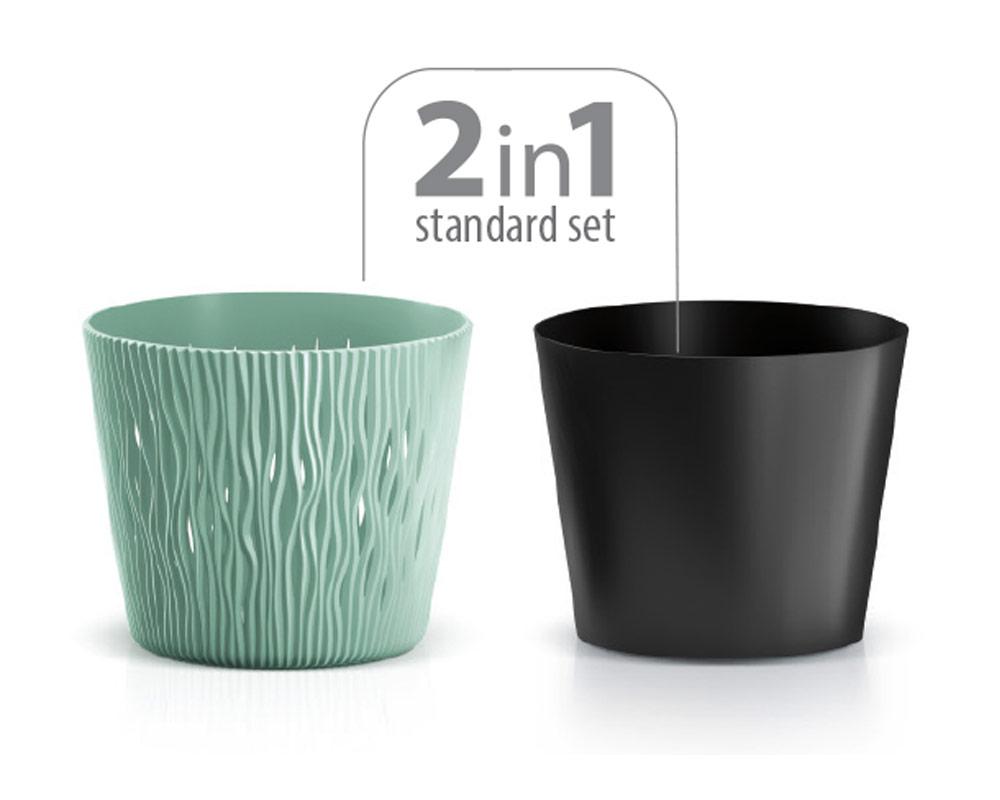 vaso sandy c riserva vasi in plastica vasi e coprivaso corinobruna set