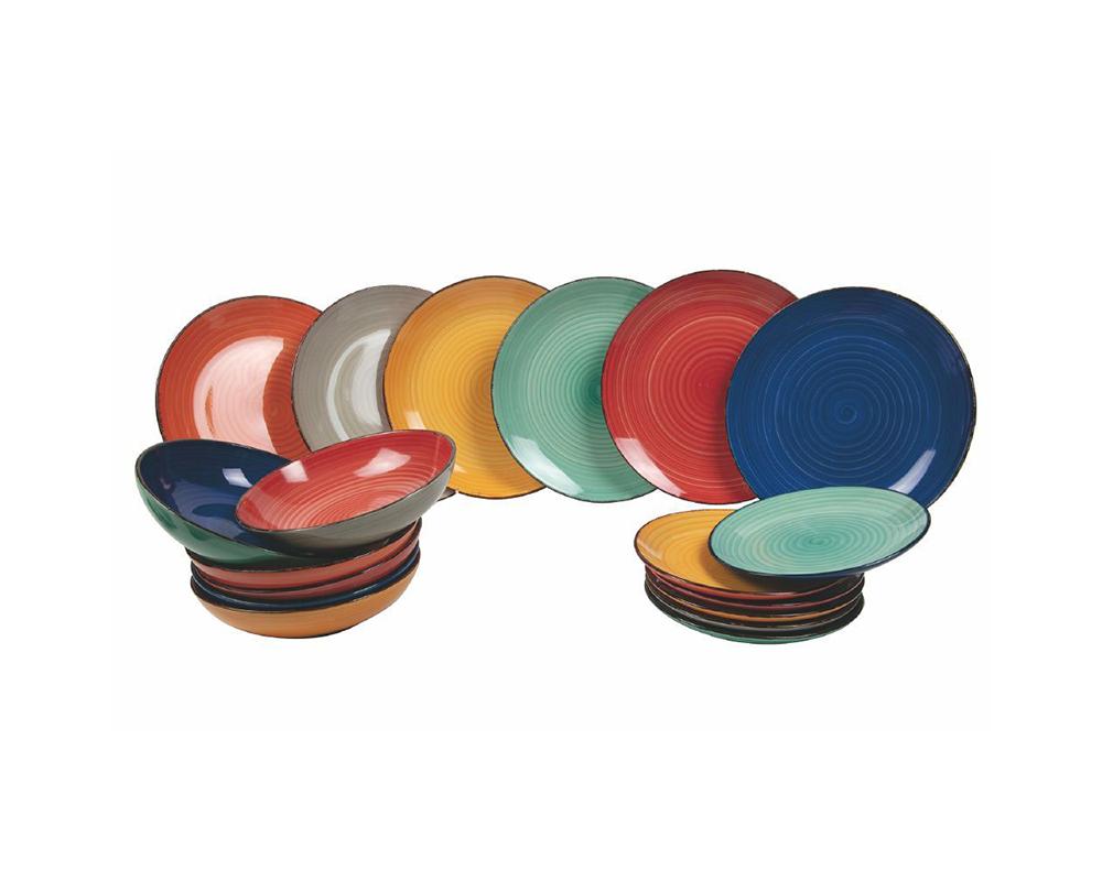 Servizio baita bicolor 18pz gres piatti complemento tavola villa deste galileo total