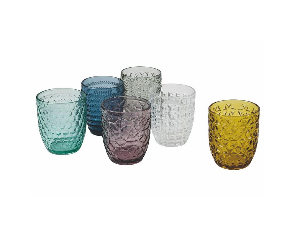 set acqua geometria multicolor vetro villa deste galileo complementi tavola 8