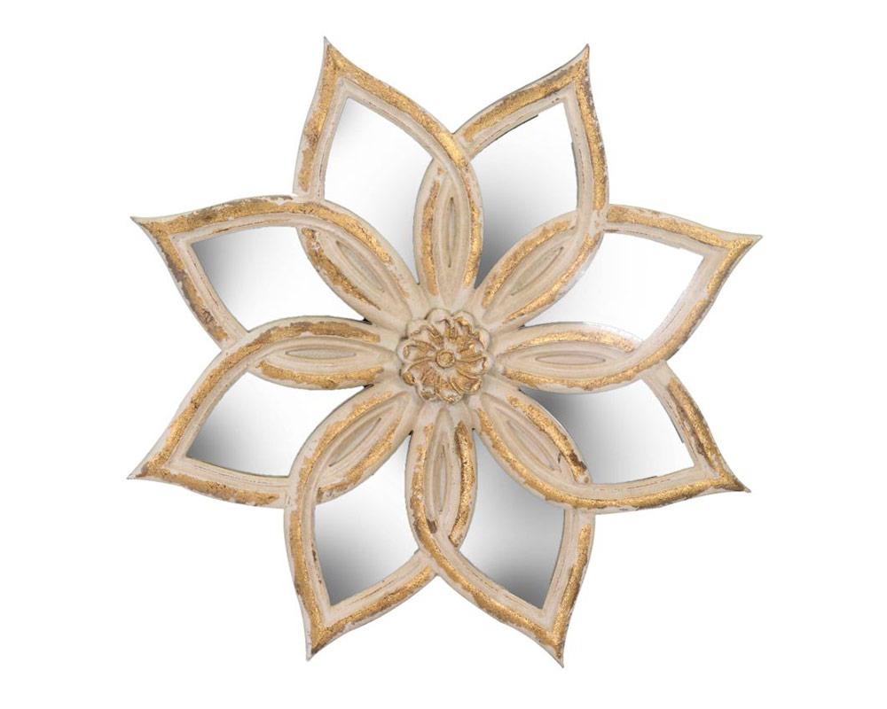 specchio fiore interno decapato bianco vacchetti
