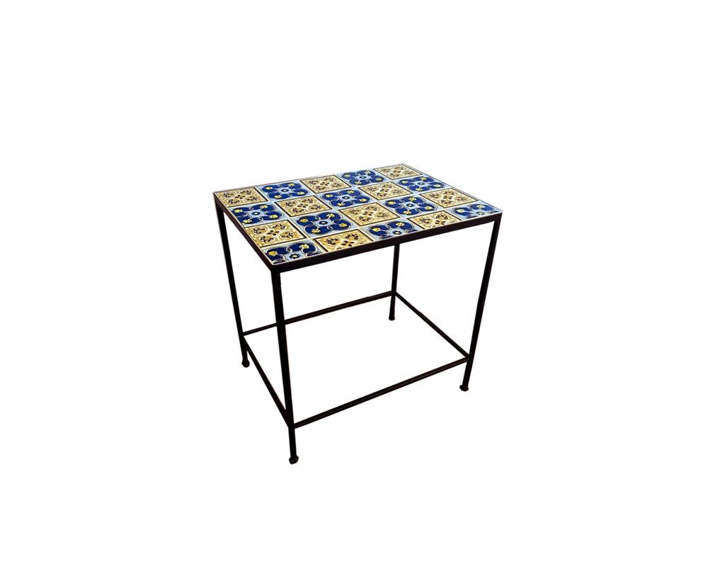 tavolino porta piante mix maioliche blu garden team ferro small