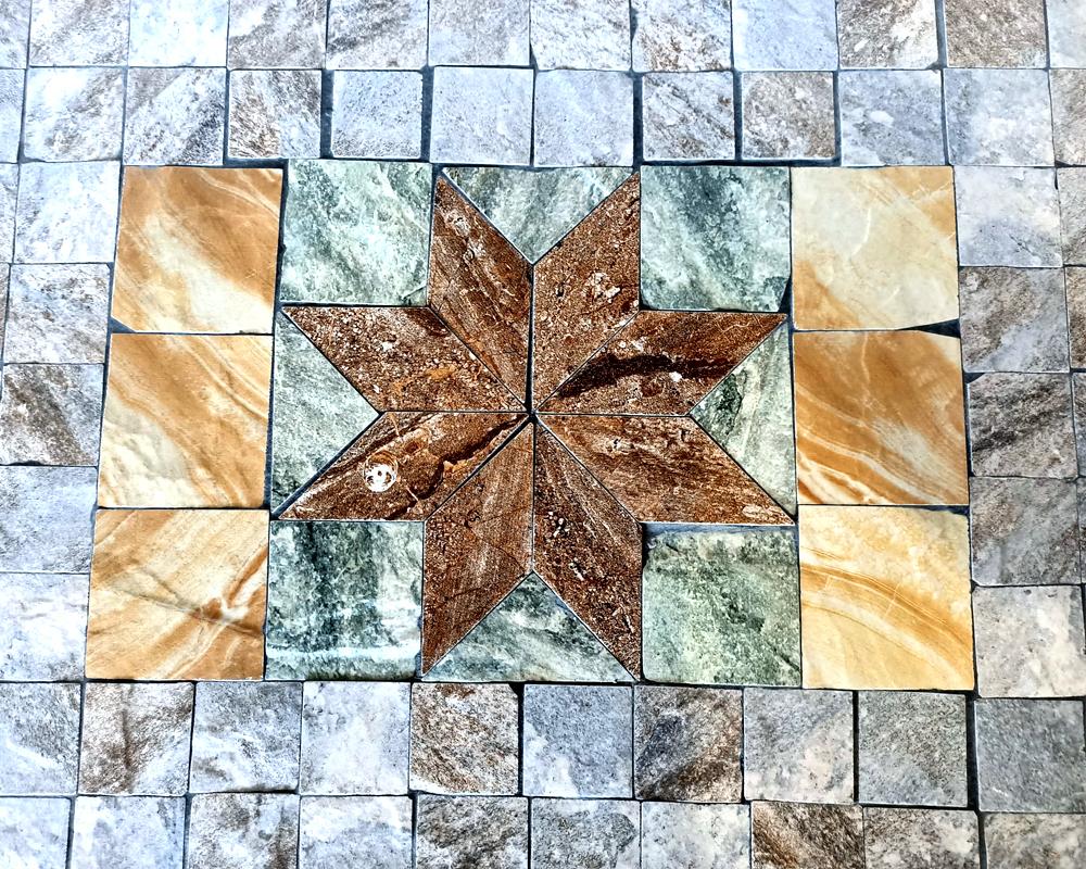 trittico tavolini porta piante maiolica stella garden team disegno