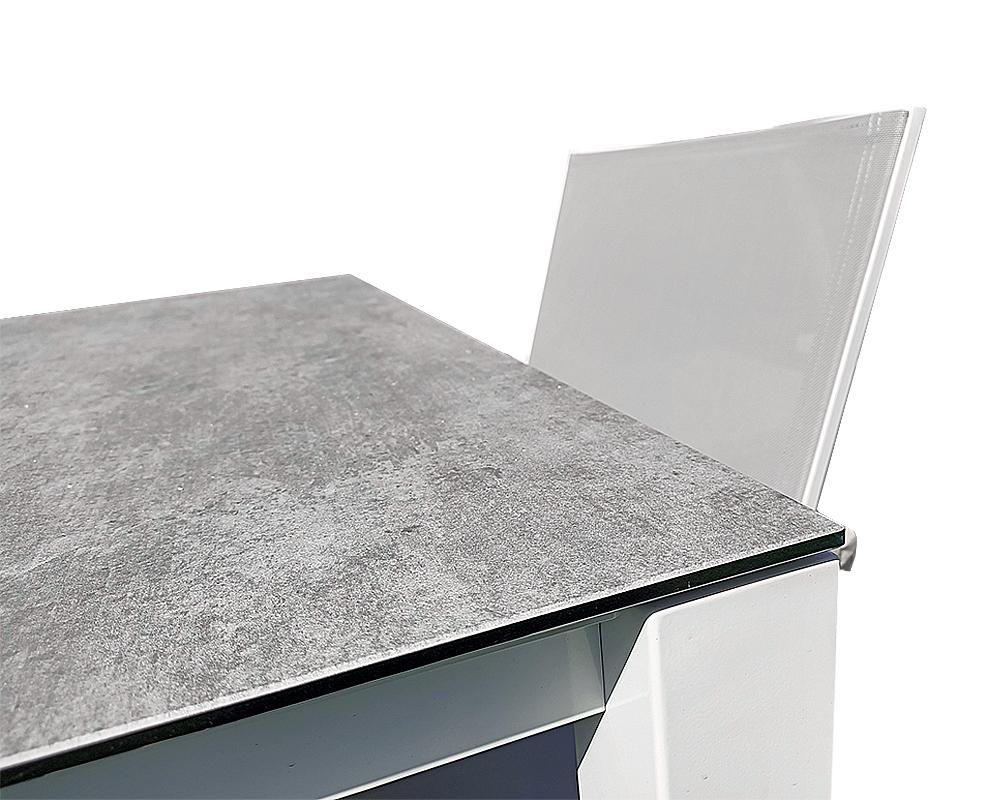 set tavolo magic alluminio c top cemento PARTICOLARE