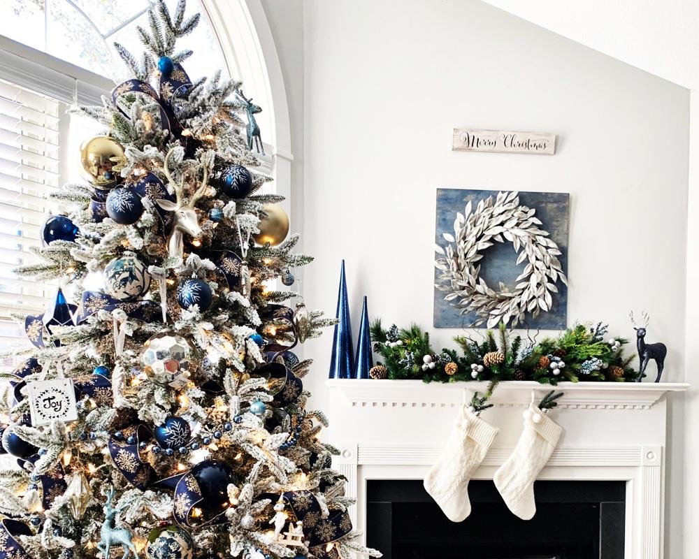 silver e blu decoration