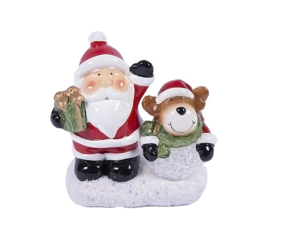 Babbo Natale Con Renna Led Terraglia