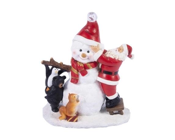Babbo Con Snowman C-led Resina