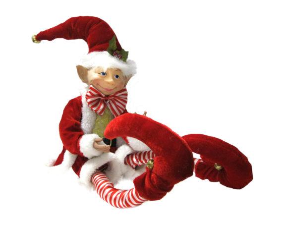 Elfo 30cm Con Abito Santa Claus Velluto