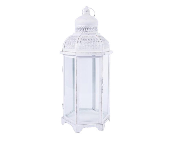 Lanterna Esagonale Large Mille E Una Notte Decapata Bianca Metallo