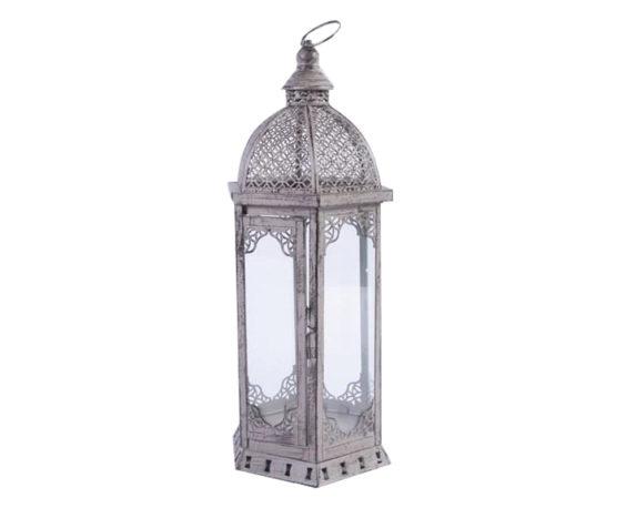 Lanterna Esagonale Slim Mille E Una Notte Decapata Grigia Metallo