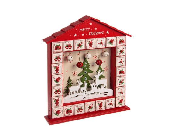 Calendario Avvento Casa Natale Legno
