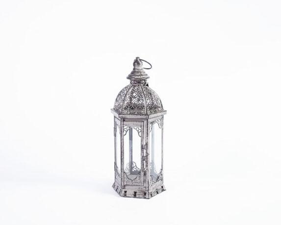 Lanterna Esagonale Grigia Invecchiata Metallo