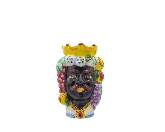 Testa Di Moro Uomo Nero Small Decorata Multicolor