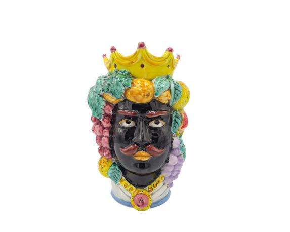 Testa Di Moro Uomo Nero Large Decorata Multicolor