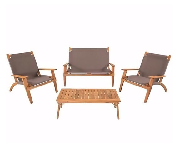 Salotto Primavera 4pz Pieghevole Sabbia Acacia Oliata C/cuscini