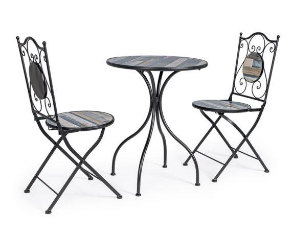 Set Bistrot Huston D60 + 2 Sedie Acciaio/ceramica – Bizzotto