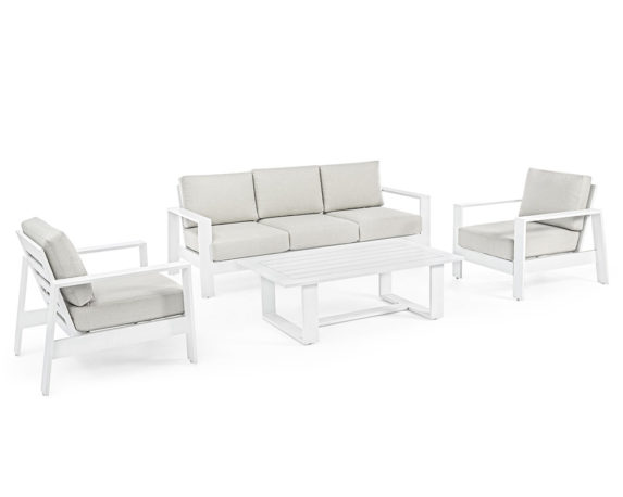 Salotto Baltic 4pz Bianco Alluminio C/cuscini – Bizzotto