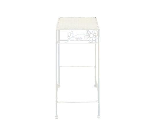 Alzata Per Piante Quadrata Medium Bianco/metallo