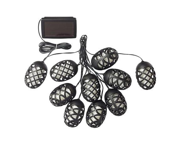 Catena Di Lanterne Fiammeggianti Ad Energia Solare 10 LED Arancioni