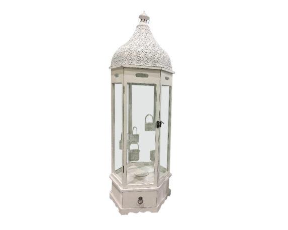 Lanterna Esagonale C/cassetto Large Legno/metallo