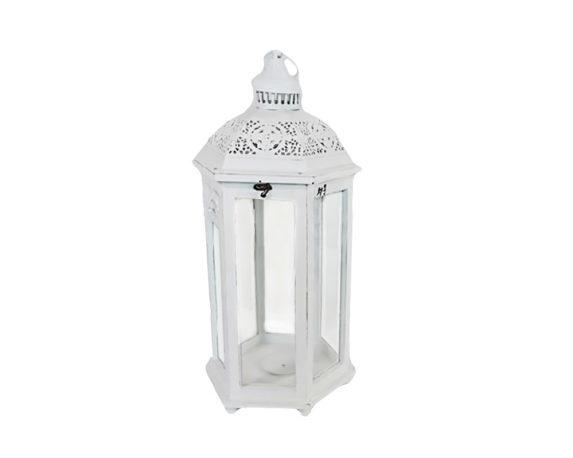 Lanterna Elisa Large Bianca Metallo