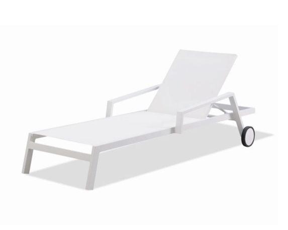 Lettino Mikonos Regolabile C/ruote Bianco Alluminio