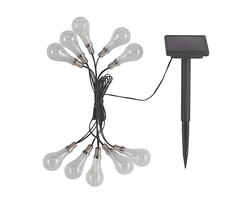 Lampadina solare intelligente Luci a stringa da esterno a 30 LED bianco caldo a energia solare