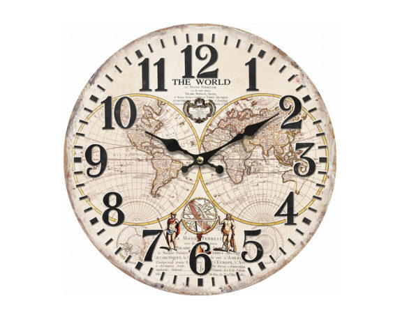 Orologio Vintage World C-effetto Rilievo Mdf