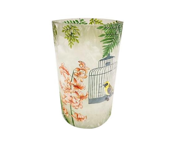 Porta Tealight Ornamento Gabbia C/uccello Vetro