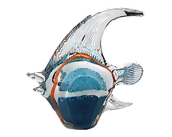 Figura Pesce 17x5x17 Azzurro/arancio/blu Vetro