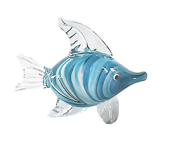 Figura Pesce 25x8x20 Celeste Vetro