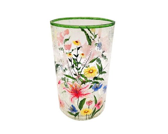 Porta Tealight Ornamento Fiori Vetro