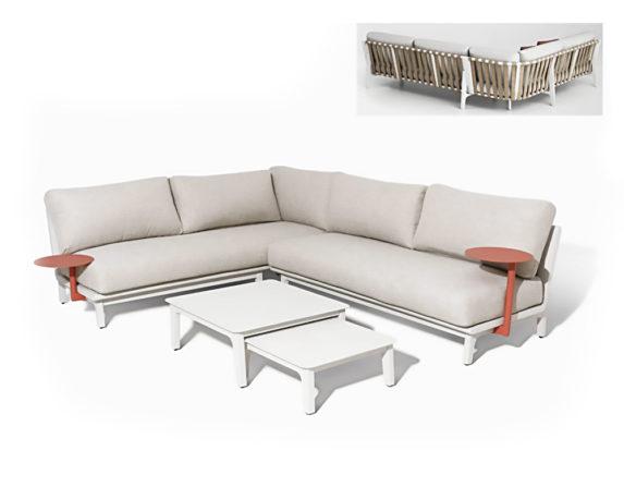 Salotto Angolare New Skip 6pz Tortora Taupe Alluminio C/cuscini