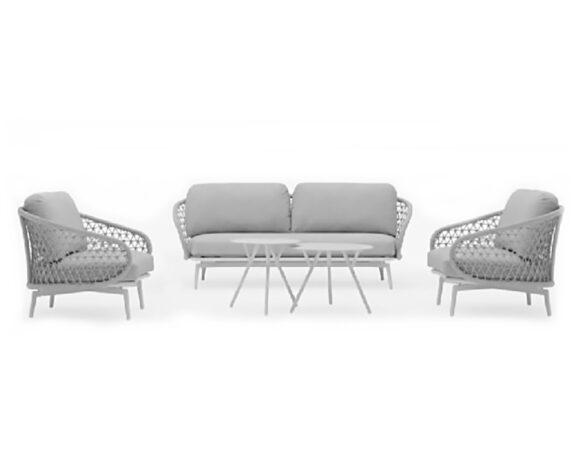 Salotto Cuddle 5pz Bianco Alluminio/kordy C/cuscini