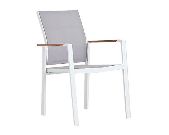 Sedia Daniel C-br Polywood/alluminio/textilene Bianca/grigia